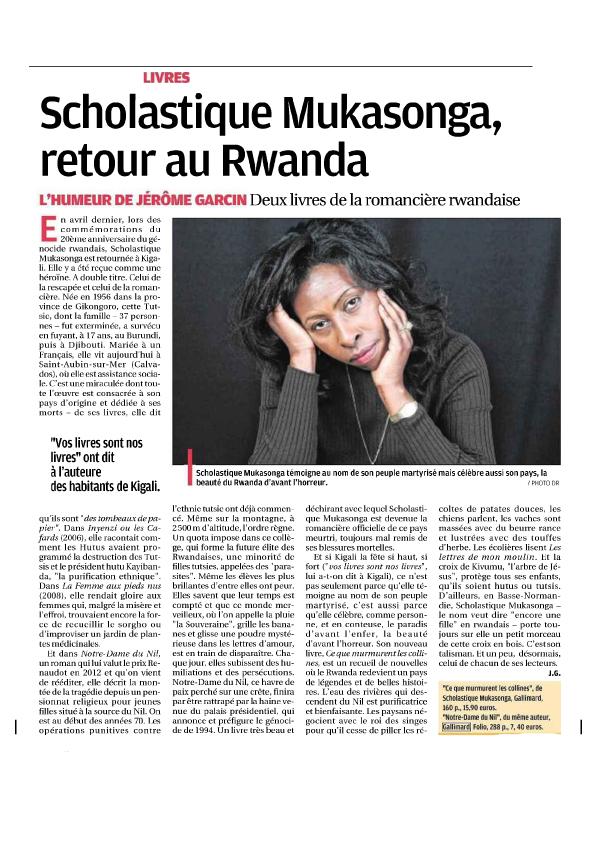 L'HUMEUR DE JÉRÔME GARCIN: SCHOLASTIQUE MUKASONGA, RETOUR AU RWANDA - La Provence - Corse Matin