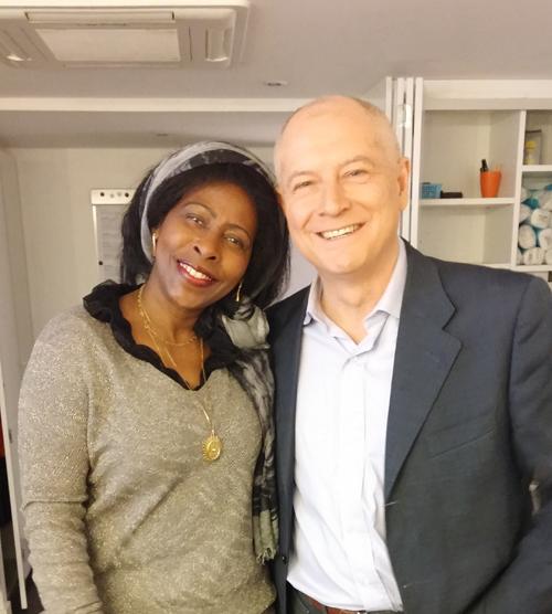 En compagnie de Patrick Simonin avant son émission L'Invité sur TV5. Monfe