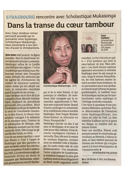 Bel article sur Coeur Tambour dans les Dernières Nouvelles d'Alsace, DNA