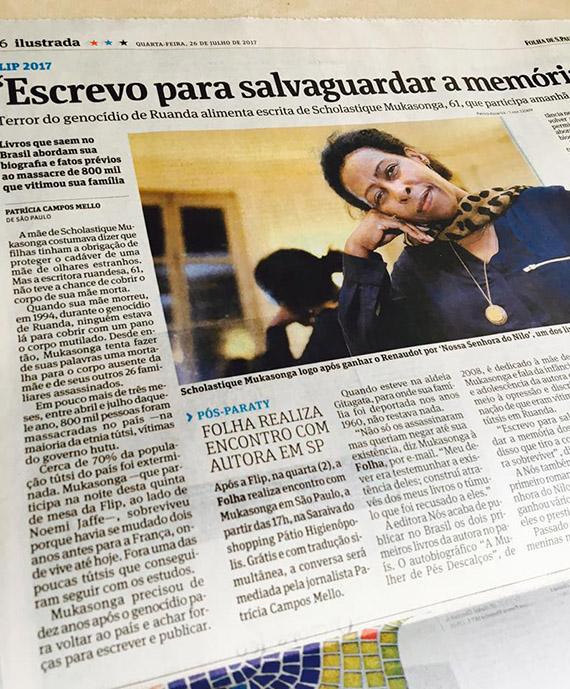 Folha de São Paulo : 'Escrevo para salvaguardar memória' _ scholastique mukasonga