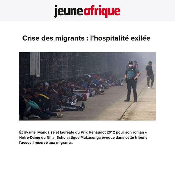 Jeune Afrique : crise des migrants - Scholastique Mukasonga