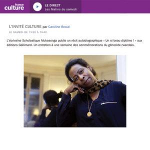 L'écrivaine Scholastique Mukasonga publie un récit autobiographique « Un si beau diplôme ! » aux éditions Gallimard. Un entretien à une semaine des commémorations du génocide rwandais. Radio France Culture - Les Matins du samedi