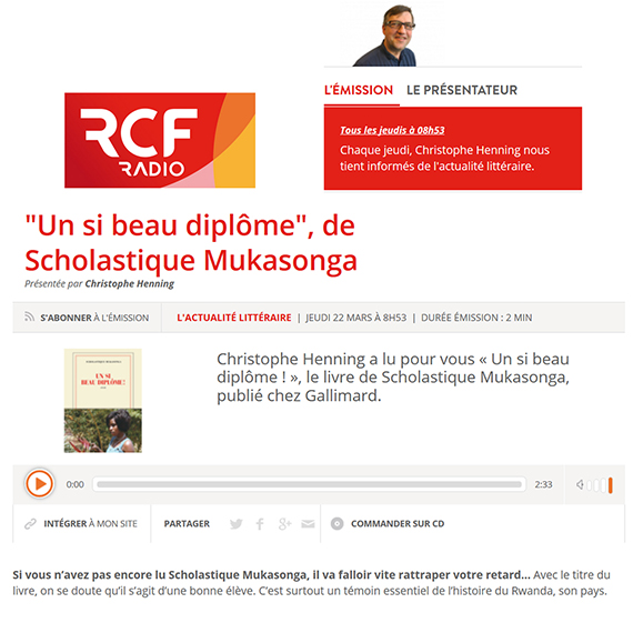 RCF Radio : Christophe Henning a lu pour vous « Un si beau diplôme ! » de Scholastique Mukasonga - Rwanda