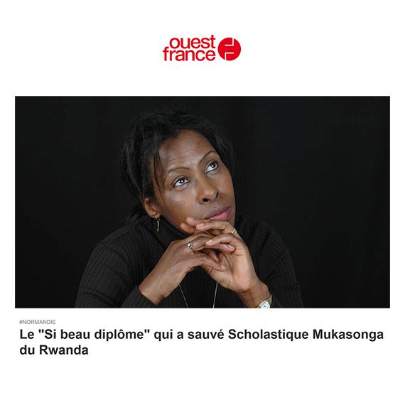 """Ouest France: Le """"Si beau diplôme"""" qui a sauvé Scholastique Mukasonga du Rwanda"""