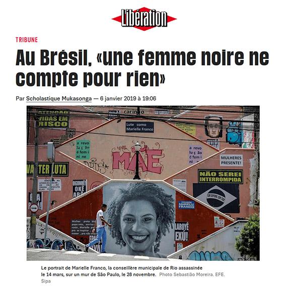 Libération tribune - Scholastique Mukasonga: au Brésil, «une femme noire ne compte pour rien»