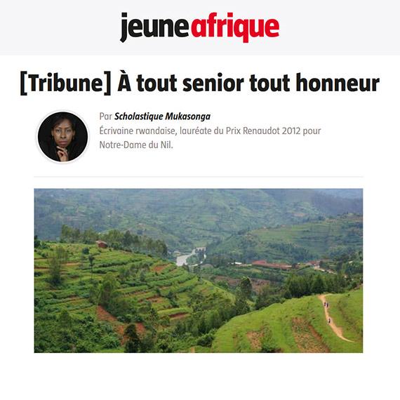 Jeune Afrique Tribune : À tout senior tout honneur - Scholastique Mukasonga - Rwanda